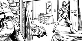 Illustration: Woman arrives on a murder scene, just as the perpatrator leaves...